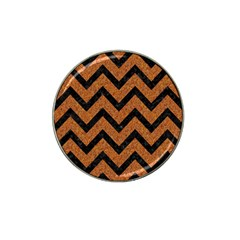 Chevron9 Black Marble & Rusted Metal Hat Clip Ball Marker by trendistuff
