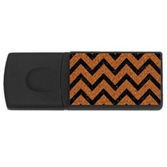 Chevron9 Black Marble & Rusted Metal Rectangular Usb Flash Drive by trendistuff