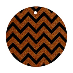 Chevron9 Black Marble & Rusted Metal Round Ornament (two Sides) by trendistuff
