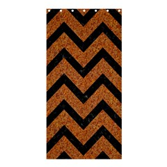 Chevron9 Black Marble & Rusted Metal Shower Curtain 36  X 72  (stall)  by trendistuff