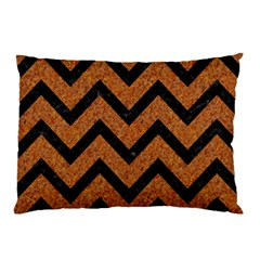 Chevron9 Black Marble & Rusted Metal Pillow Case (two Sides) by trendistuff