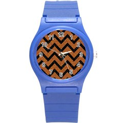 Chevron9 Black Marble & Rusted Metal Round Plastic Sport Watch (s) by trendistuff