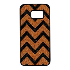 Chevron9 Black Marble & Rusted Metal Samsung Galaxy S7 Black Seamless Case by trendistuff