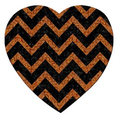 Chevron9 Black Marble & Rusted Metal (r) Jigsaw Puzzle (heart) by trendistuff