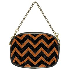 Chevron9 Black Marble & Rusted Metal (r) Chain Purses (one Side)  by trendistuff