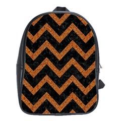 Chevron9 Black Marble & Rusted Metal (r) School Bag (large) by trendistuff