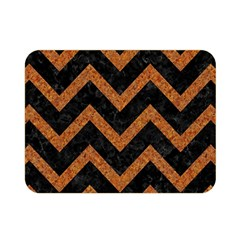 Chevron9 Black Marble & Rusted Metal (r) Double Sided Flano Blanket (mini)  by trendistuff