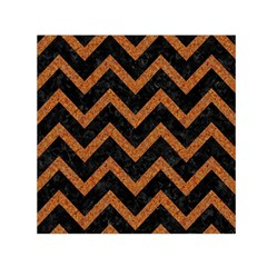 Chevron9 Black Marble & Rusted Metal (r) Small Satin Scarf (square) by trendistuff