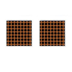 Circles1 Black Marble & Rusted Metal Cufflinks (square) by trendistuff