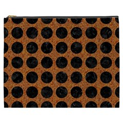 Circles1 Black Marble & Rusted Metal Cosmetic Bag (xxxl)  by trendistuff