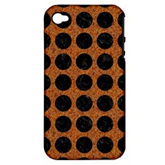 Circles1 Black Marble & Rusted Metal Apple Iphone 4/4s Hardshell Case (pc+silicone) by trendistuff