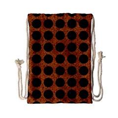 Circles1 Black Marble & Rusted Metal Drawstring Bag (small) by trendistuff