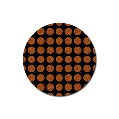 Circles1 Black Marble & Rusted Metal (r) Rubber Coaster (round)  by trendistuff