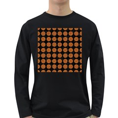 Circles1 Black Marble & Rusted Metal (r) Long Sleeve Dark T Shirts by trendistuff
