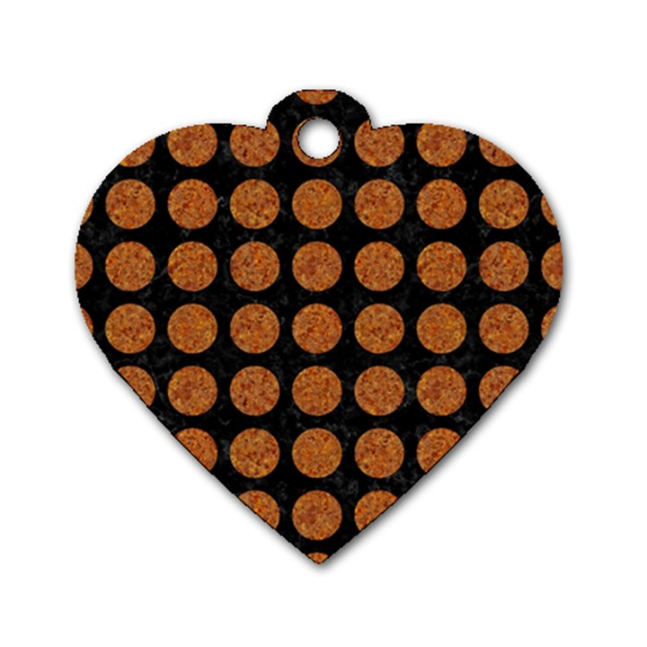 CIRCLES1 BLACK MARBLE & RUSTED METAL (R) Dog Tag Heart (One Side)