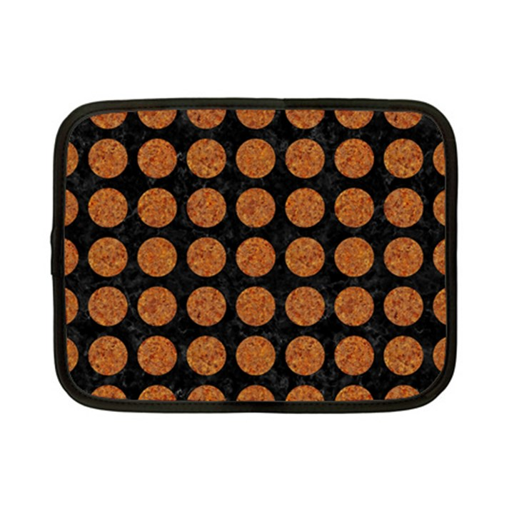 CIRCLES1 BLACK MARBLE & RUSTED METAL (R) Netbook Case (Small)
