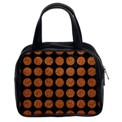 Circles1 Black Marble & Rusted Metal (r) Classic Handbags (2 Sides)