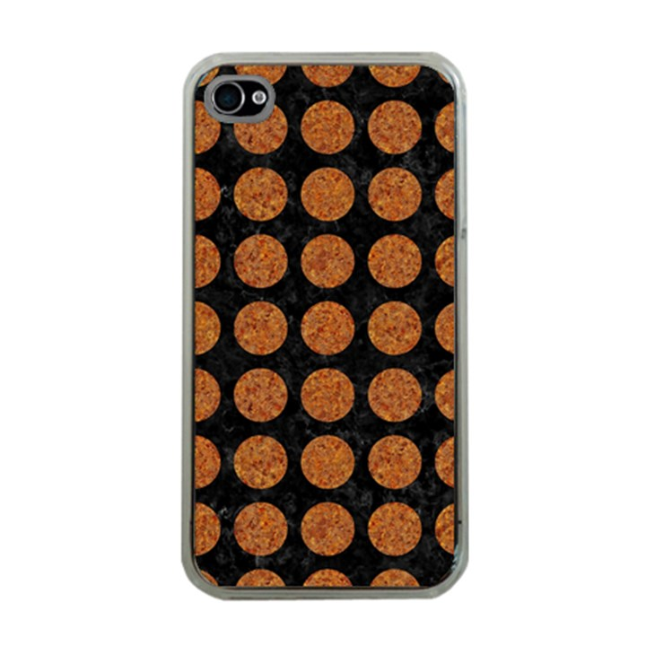 CIRCLES1 BLACK MARBLE & RUSTED METAL (R) Apple iPhone 4 Case (Clear)