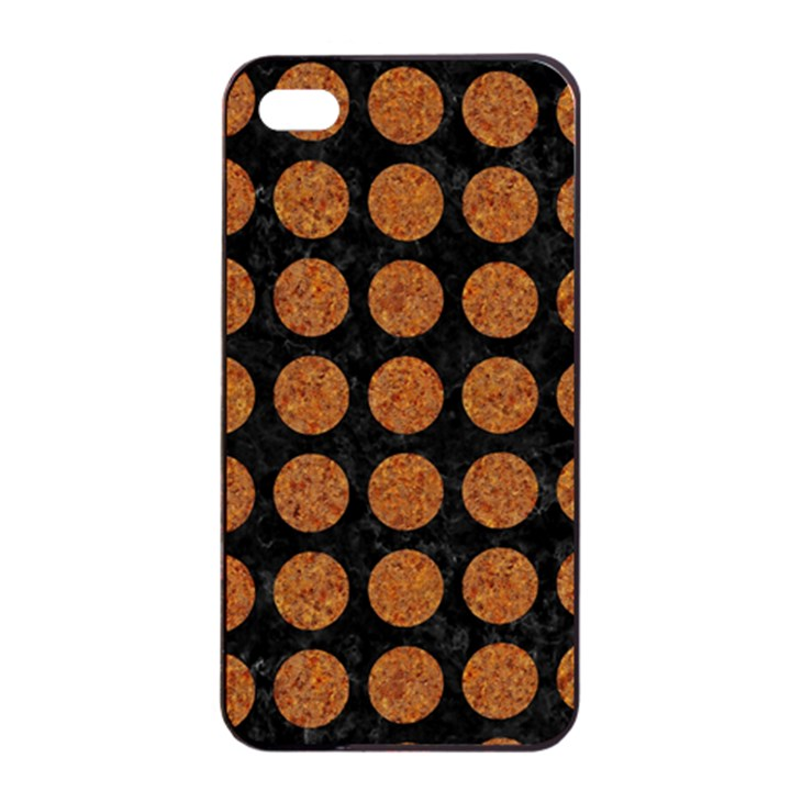 CIRCLES1 BLACK MARBLE & RUSTED METAL (R) Apple iPhone 4/4s Seamless Case (Black)
