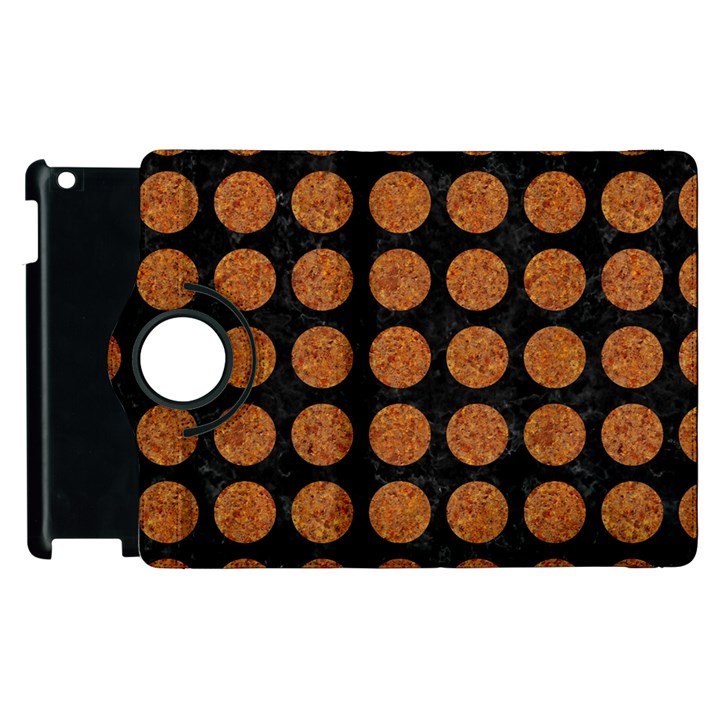 CIRCLES1 BLACK MARBLE & RUSTED METAL (R) Apple iPad 2 Flip 360 Case