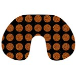 CIRCLES1 BLACK MARBLE & RUSTED METAL (R) Travel Neck Pillows Back