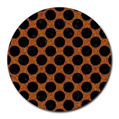 Circles2 Black Marble & Rusted Metal Round Mousepads by trendistuff
