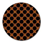 CIRCLES2 BLACK MARBLE & RUSTED METAL Round Mousepads Front