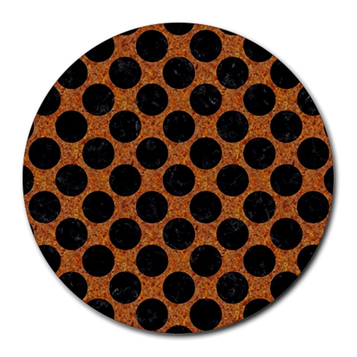 CIRCLES2 BLACK MARBLE & RUSTED METAL Round Mousepads