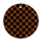 CIRCLES2 BLACK MARBLE & RUSTED METAL Ornament (Round)