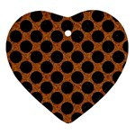 CIRCLES2 BLACK MARBLE & RUSTED METAL Ornament (Heart)