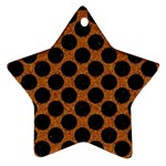CIRCLES2 BLACK MARBLE & RUSTED METAL Ornament (Star)