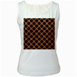 CIRCLES2 BLACK MARBLE & RUSTED METAL Women s White Tank Top