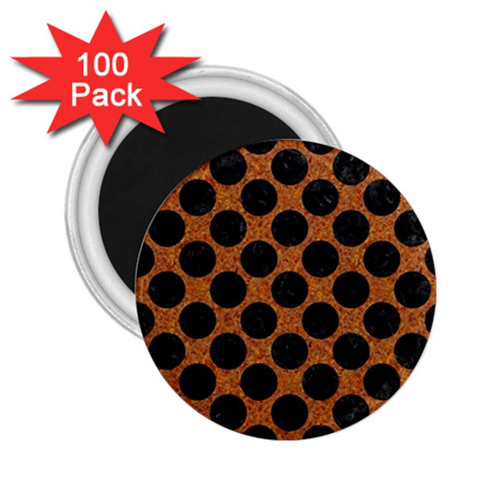 CIRCLES2 BLACK MARBLE & RUSTED METAL 2.25  Magnets (100 pack)