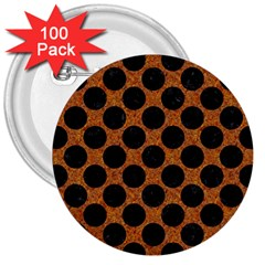 Circles2 Black Marble & Rusted Metal 3  Buttons (100 Pack)  by trendistuff