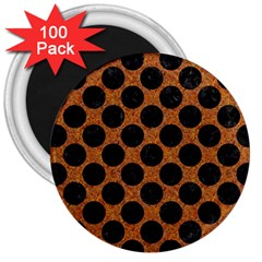 Circles2 Black Marble & Rusted Metal 3  Magnets (100 Pack) by trendistuff