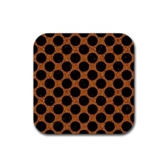 Circles2 Black Marble & Rusted Metal Rubber Coaster (square)