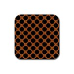 CIRCLES2 BLACK MARBLE & RUSTED METAL Rubber Square Coaster (4 pack)