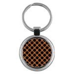 CIRCLES2 BLACK MARBLE & RUSTED METAL Key Chains (Round)