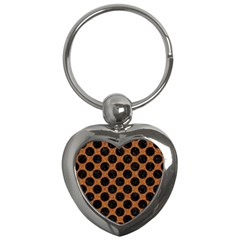 Circles2 Black Marble & Rusted Metal Key Chains (heart)  by trendistuff