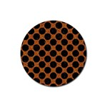 CIRCLES2 BLACK MARBLE & RUSTED METAL Rubber Coaster (Round)