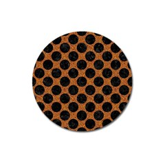 Circles2 Black Marble & Rusted Metal Magnet 3  (round) by trendistuff