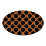 CIRCLES2 BLACK MARBLE & RUSTED METAL Oval Magnet