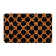 Circles2 Black Marble & Rusted Metal Magnet (rectangular) by trendistuff