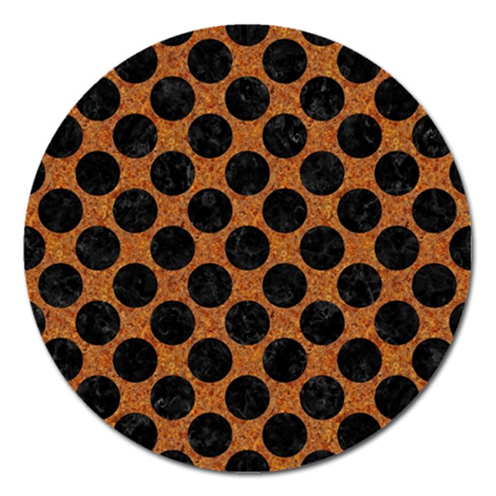 CIRCLES2 BLACK MARBLE & RUSTED METAL Magnet 5  (Round)