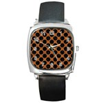 CIRCLES2 BLACK MARBLE & RUSTED METAL Square Metal Watch