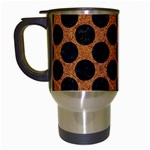 CIRCLES2 BLACK MARBLE & RUSTED METAL Travel Mugs (White) Left