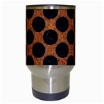CIRCLES2 BLACK MARBLE & RUSTED METAL Travel Mugs (White) Center