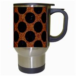 CIRCLES2 BLACK MARBLE & RUSTED METAL Travel Mugs (White) Right
