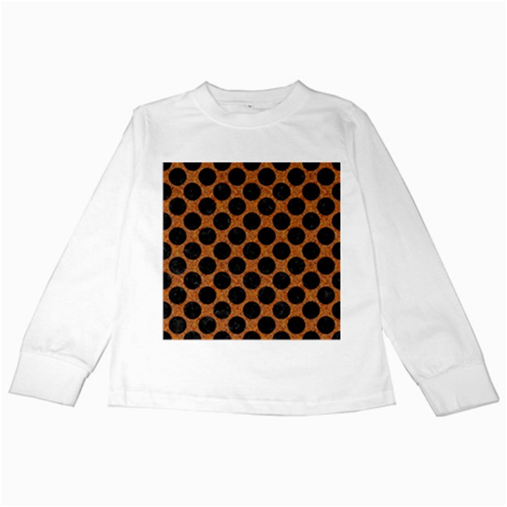 CIRCLES2 BLACK MARBLE & RUSTED METAL Kids Long Sleeve T-Shirts