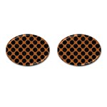 CIRCLES2 BLACK MARBLE & RUSTED METAL Cufflinks (Oval)